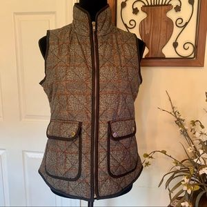 Willi Smith Quilted Black, Tan & Brown Vest Sz S
